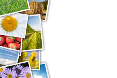 Stack of printed pictures collage Royalty Free Stock Photo