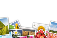 Stack of printed pictures collage Stock Photo