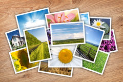 Stack of printed pictures collage Stock Images