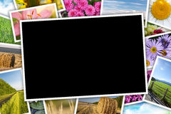Stack of printed pictures collage Royalty Free Stock Images
