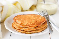 A Stack of Pumpkin Pancakes, copy space for your text. A Stack of Pumpkin Pancakes Stock Photo
