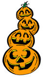 Stack of Pumpkins. Cartoon Illustration of a Stack of Pumpkins Royalty Free Stock Photos