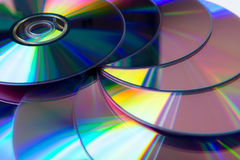 Stack of purple rewritable dvd collection Stock Photos