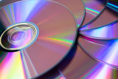 Stack of purple rewritable dvd collection Royalty Free Stock Photos