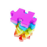 Stack of puzzle jigsaw glossy pieces isolated Royalty Free Stock Images