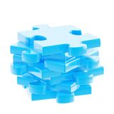 Stack of a puzzle pieces isolated Royalty Free Stock Photo