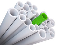 Stack of PVC tubing. With a green different tube. special qualityconcept Stock Photo