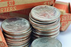 Stack Of Quarters Royalty Free Stock Photos