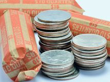 Stack Of Quarters Royalty Free Stock Photography