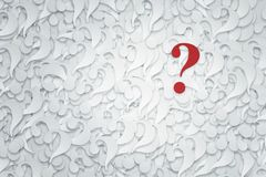 Stack of question marks on a white background. Stock Photos