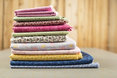 Stack of Quilt Cotton print material Royalty Free Stock Images