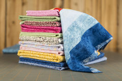 Stack of Quilt Cotton print material Royalty Free Stock Photography