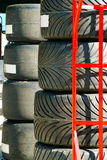 Stack of racing car tires Royalty Free Stock Photography
