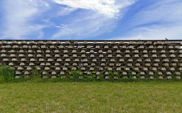 Stack of rails with concrete sleepers Royalty Free Stock Photo