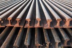 Stack of railway rail. Stock Photos