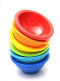 Stack of rainbow bowls Royalty Free Stock Photo