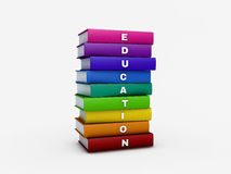 Stack of rainbow education book isolated on white with clipping Royalty Free Stock Photo