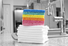 Stack of rainbow sponges and cloths Royalty Free Stock Photos