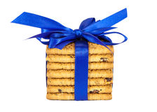 Stack of raisin cookies with blue ribbon Royalty Free Stock Photography
