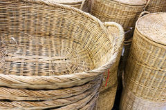 Stack of rattan wicker basket Royalty Free Stock Photography