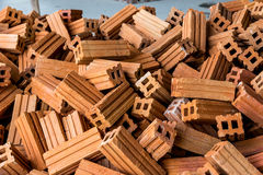 Stack of raw bricks Stock Image