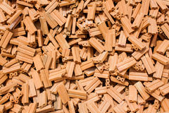 Stack of raw bricks texture Stock Images
