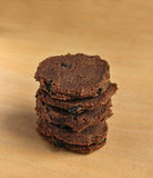 Stack of raw food flax cookies with raisins Royalty Free Stock Photo