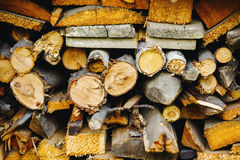 Stack of ready logs. Wood texture. Stock Images
