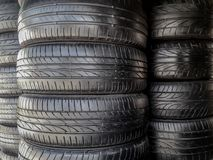 Stack of recapped car tires Stock Photos