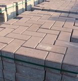 Stack of rectangular and square pavement stones Royalty Free Stock Photos