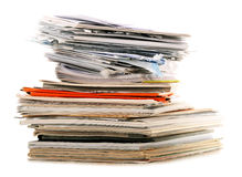Stack of recycling paper on white Royalty Free Stock Photo