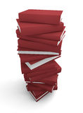 Stack of red books. Stack of books. High quality 3D rendered image Stock Photo