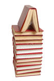 Stack of the red books. Isolated on a white background Royalty Free Stock Photo