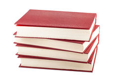 Stack of red books. Stack of four red books isolated on white background Royalty Free Stock Image
