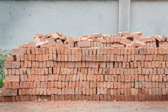 Stack of red brick Stock Photography