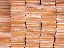Stack of red brick for construction Stock Photos