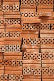 Stack of Red Bricks. On Construction Site Stock Image