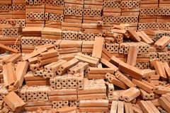 Stack of Red Bricks. On Construction Site Royalty Free Stock Photos