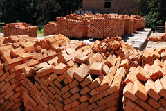 Stack of red bricks Royalty Free Stock Photos