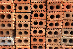 Stack of red bricks Stock Photos