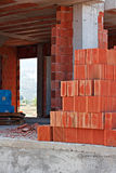 Stack of red building blocks Stock Photos
