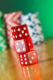 Stack of red casino dice Royalty Free Stock Image