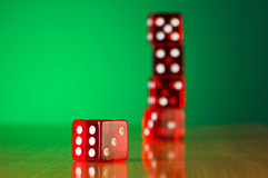 Stack of red casino dice Royalty Free Stock Photo