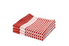 Kitchen checkered napkin isolated. Stack or of red checkered napkin. Pile of tablecloth. Stacked towel Stock Photography
