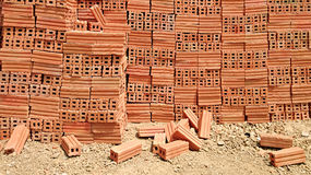 Stack of red clay bricks Royalty Free Stock Photos