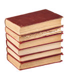Stack of red cover books. Isolated on white background Stock Photography
