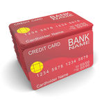 A stack of red credit card Stock Photo