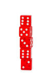 Stack of red dice isolated Stock Images