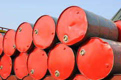 Stack of red drums Stock Photo