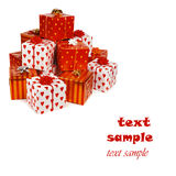 Stack of red gift boxes Royalty Free Stock Image